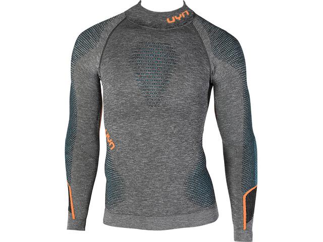 UYN Ambityon Melange UW Camiseta Manga Larga Cuello Tortuga Hombre, black melange/atlantic/orange shiny